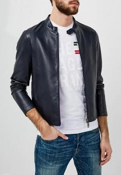 Куртка кожаная, Emporio Armani, цвет: синий. Артикул: EM598EMZWG48. Одежда / Верхняя одежда / Кожаные куртки