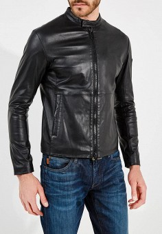 Куртка кожаная, Emporio Armani, цвет: черный. Артикул: EM598EMZWG53. Одежда / Верхняя одежда / Кожаные куртки