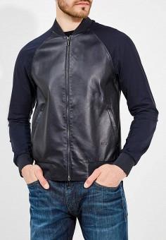 Куртка кожаная, Emporio Armani, цвет: синий. Артикул: EM598EMZWG54. Одежда / Верхняя одежда / Кожаные куртки