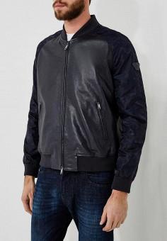 Куртка кожаная, Emporio Armani, цвет: черный. Артикул: EM598EMZWG55. Одежда / Верхняя одежда / Кожаные куртки