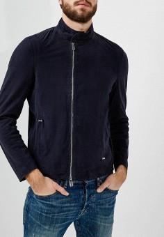 Куртка кожаная, Emporio Armani, цвет: синий. Артикул: EM598EMZWG56. Одежда / Верхняя одежда / Кожаные куртки