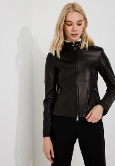 Куртка кожаная, Emporio Armani, цвет: черный. Артикул: EM598EWBLMZ1.