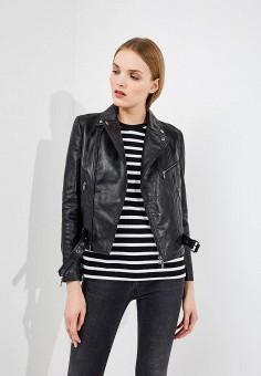 Куртка кожаная, Emporio Armani, цвет: черный. Артикул: EM598EWZWC73. Одежда / Верхняя одежда