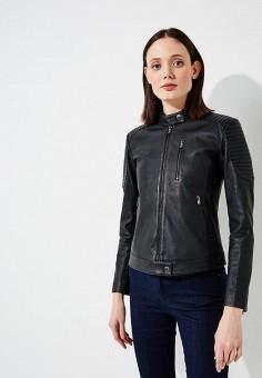 Куртка кожаная, Emporio Armani, цвет: черный. Артикул: EM598EWZWC75.