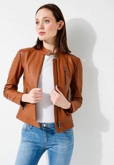 Куртка кожаная, Emporio Armani, цвет: коричневый. Артикул: EM598EWZWC76. Одежда / Верхняя одежда