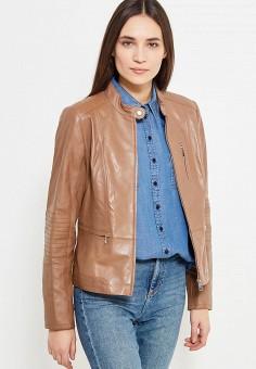 Куртка кожаная, Gerry Weber, цвет: коричневый. Артикул: GE002EWYHB41. Одежда / Верхняя одежда