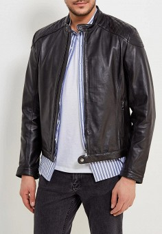 Куртка кожаная, Geox, цвет: черный. Артикул: GE347EMADCK1. Одежда / Верхняя одежда / Кожаные куртки