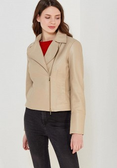 Куртка кожаная, Geox, цвет: бежевый. Артикул: GE347EWAOEO5. Одежда / Верхняя одежда
