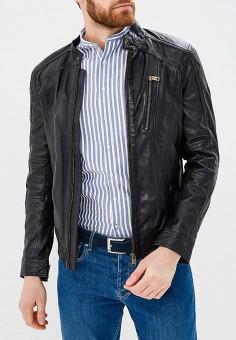 Куртка кожаная, Guess Jeans, цвет: черный. Артикул: GU644EMANXT5. Одежда / Верхняя одежда / Кожаные куртки