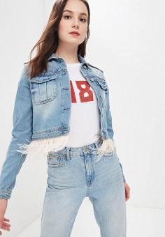 Куртка джинсовая, Guess Jeans, цвет: синий. Артикул: GU644EWBKAY7. Одежда / Верхняя одежда / Джинсовые куртки