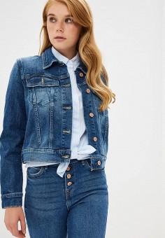 Куртка джинсовая, Guess Jeans, цвет: синий. Артикул: GU644EWBTYH1. Одежда / Верхняя одежда / Джинсовые куртки
