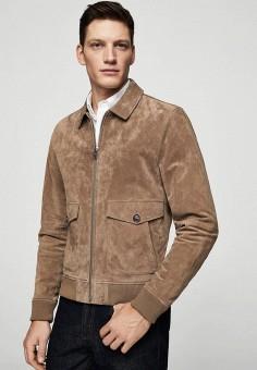 Куртка кожаная, Mango Man, цвет: коричневый. Артикул: HE002EMAFNB9. Одежда / Верхняя одежда / Кожаные куртки