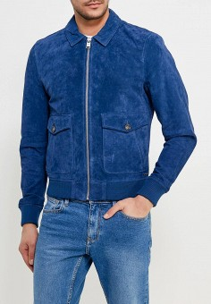 Куртка кожаная, Mango Man, цвет: синий. Артикул: HE002EMAFNE2. Одежда / Верхняя одежда / Кожаные куртки