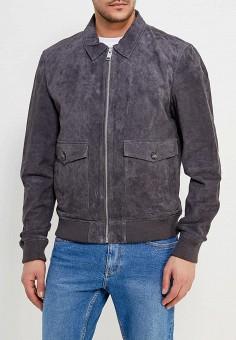 Куртка кожаная, Mango Man, цвет: серый. Артикул: HE002EMAFNK4. Одежда / Верхняя одежда / Кожаные куртки