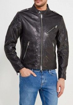 Куртка кожаная, Mango Man, цвет: черный. Артикул: HE002EMAFNM1. Одежда / Верхняя одежда / Кожаные куртки