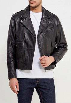 Куртка кожаная, Mango Man, цвет: черный. Артикул: HE002EMAFNM2. Одежда / Верхняя одежда / Кожаные куртки