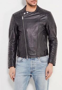 Куртка кожаная, Mango Man, цвет: черный. Артикул: HE002EMAIUC4. Одежда / Верхняя одежда / Кожаные куртки