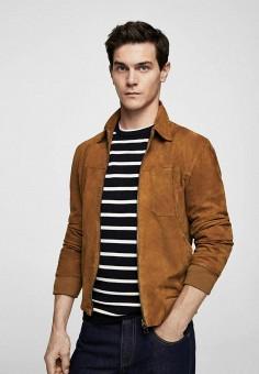 Куртка кожаная, Mango Man, цвет: коричневый. Артикул: HE002EMBIIL7. Одежда / Верхняя одежда / Кожаные куртки