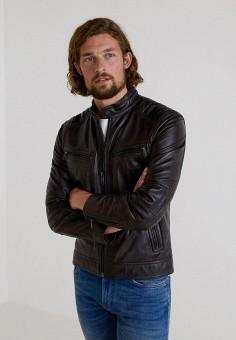Куртка кожаная, Mango Man, цвет: коричневый. Артикул: HE002EMBUDX7. Одежда / Верхняя одежда / Кожаные куртки