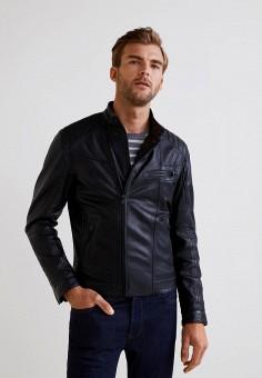 Куртка кожаная, Mango Man, цвет: черный. Артикул: HE002EMBUHC4. Одежда / Верхняя одежда / Кожаные куртки