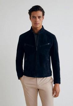 Куртка кожаная, Mango Man, цвет: синий. Артикул: HE002EMCFMC6. Одежда / Верхняя одежда / Кожаные куртки