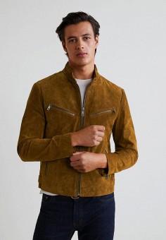 Куртка кожаная, Mango Man, цвет: коричневый. Артикул: HE002EMCFMK3. Одежда / Верхняя одежда / Кожаные куртки