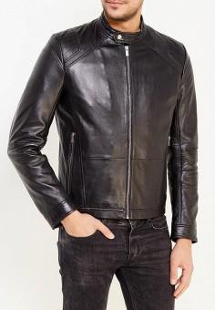 Куртка кожаная, Hugo Hugo Boss, цвет: черный. Артикул: HU286EMYUU36. Одежда / Верхняя одежда / Кожаные куртки