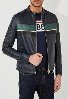 Куртка кожаная, Iceberg, цвет: синий. Артикул: IC461EMZWQ12. Одежда / Верхняя одежда / Кожаные куртки