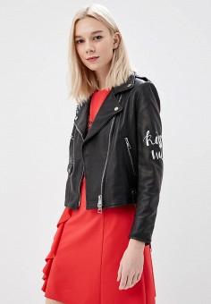 Куртка кожаная, Imperial, цвет: черный. Артикул: IM004EWAOPI3. Одежда / Верхняя одежда