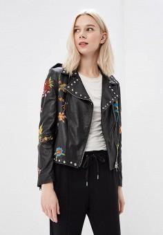 Куртка кожаная, Imperial, цвет: черный. Артикул: IM004EWAOPI6. Одежда / Верхняя одежда
