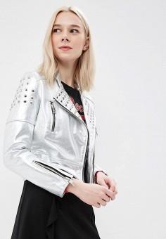 Куртка кожаная, Imperial, цвет: серебряный. Артикул: IM004EWAOPI8. Одежда / Верхняя одежда