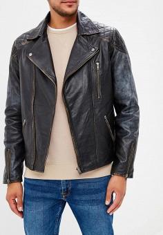 Куртка кожаная, Jack & Jones, цвет: черный. Артикул: JA391EMBZRP1. Одежда / Верхняя одежда / Кожаные куртки