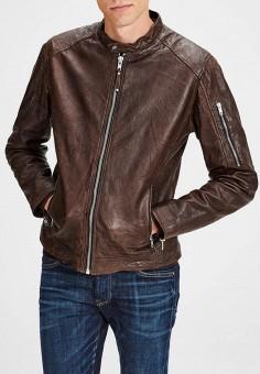 Куртка кожаная, Jack & Jones, цвет: коричневый. Артикул: JA391EMCAFX6. Одежда / Верхняя одежда / Кожаные куртки