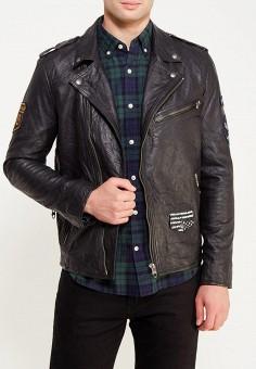 Куртка кожаная, Jack & Jones, цвет: черный. Артикул: JA391EMUIX99. Одежда / Верхняя одежда / Кожаные куртки