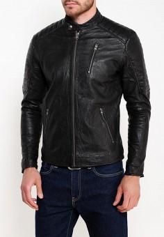 Куртка кожаная, Jack & Jones, цвет: черный. Артикул: JA391EMWDK30. Одежда / Верхняя одежда / Кожаные куртки