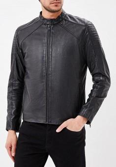 Куртка кожаная, Jack & Jones, цвет: черный. Артикул: JA391EMZJY95. Одежда / Верхняя одежда / Кожаные куртки