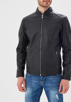 Куртка кожаная, Jack & Jones, цвет: черный. Артикул: JA391EMZKA15. Одежда / Верхняя одежда / Кожаные куртки