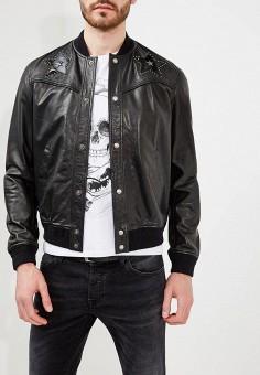 Куртка кожаная, Just Cavalli, цвет: черный. Артикул: JU662EMYXL70. Одежда / Верхняя одежда / Кожаные куртки