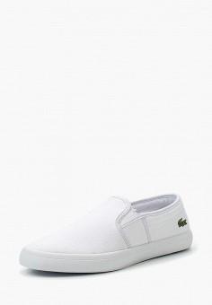 Слипоны, Lacoste, цвет: белый. Артикул: LA038AWPZN70. Обувь
