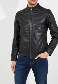 Куртка кожаная, Liu Jo Uomo, цвет: черный. Артикул: LI030EMAINI5. Одежда / Верхняя одежда / Кожаные куртки