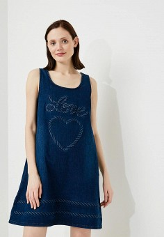 Платье джинсовое, Love Moschino, цвет: синий. Артикул: LO416EWAEVK6. Premium / Одежда / Платья и сарафаны