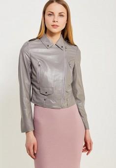 Куртка кожаная, Lusio, цвет: серый. Артикул: LU018EWAHKA5. Одежда / Верхняя одежда