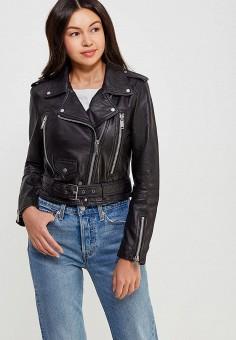 Куртка кожаная, Mango, цвет: черный. Артикул: MA002EWAFNM3. Одежда / Верхняя одежда / Кожаные куртки