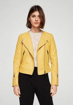 Куртка кожаная, Mango, цвет: желтый. Артикул: MA002EWAQUE8. Одежда / Верхняя одежда / Кожаные куртки