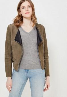 Куртка кожаная, Mango, цвет: хаки. Артикул: MA002EWAQUO1. Одежда / Верхняя одежда / Кожаные куртки