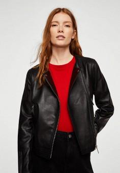 Куртка кожаная, Mango, цвет: черный. Артикул: MA002EWAQXN9. Одежда / Верхняя одежда / Кожаные куртки