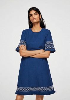 Платье, Mango, цвет: синий. Артикул: MA002EWBHHK6. Одежда / Платья и сарафаны