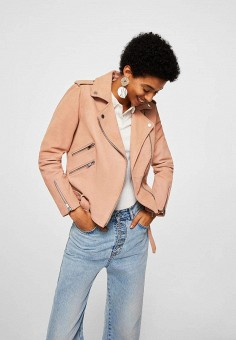 Куртка кожаная, Mango, цвет: розовый. Артикул: MA002EWBIIA1. Одежда / Верхняя одежда / Косухи