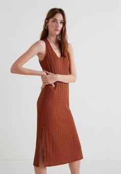 Платье, Mango, цвет: коричневый. Артикул: MA002EWBQYJ1. Одежда / Платья и сарафаны