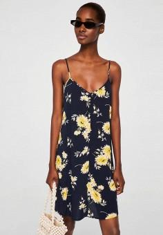 Платье, Mango, цвет: синий. Артикул: MA002EWBQYP5. Одежда / Платья и сарафаны